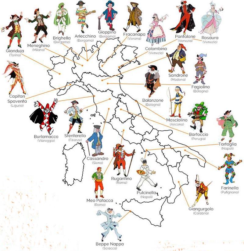 Tradizioni Maschere Italiane Della Commedia Dell Arte E Altre